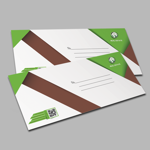 Standard white wove envelopes printed full colour one side.